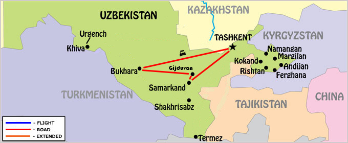 Pearls of Uzbekistan Map