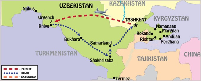 Treasures of Uzbekistan Map