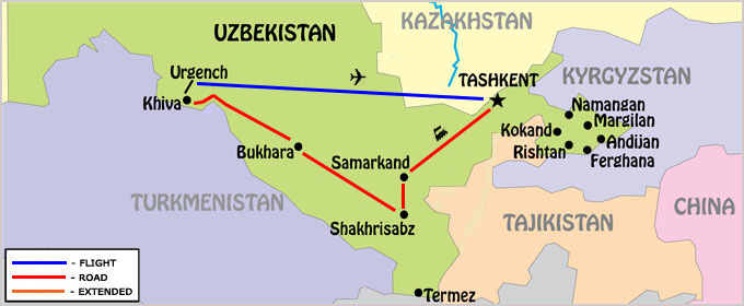 Guaranteed Departures Uzbekistan Map