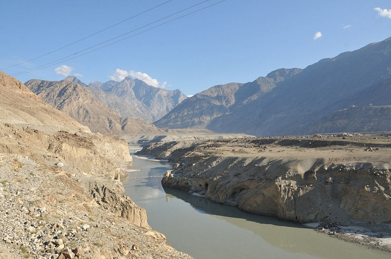 Indus river with hanging bridge