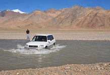 Crossing a stream near Murghab